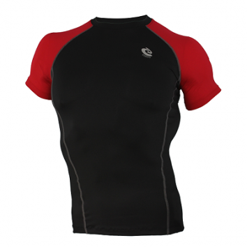 Mens Compression Premium Short sleeve Sports Top Black w/Red #065